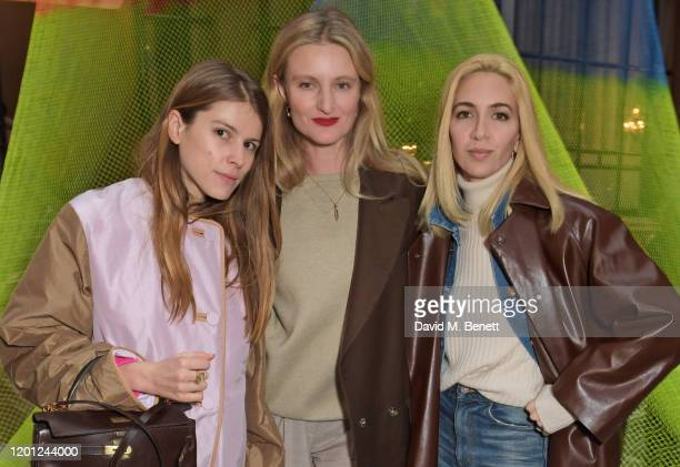 Monica de La Villardiere Candice Lake and Sabine Getty attend the Roksanda show during London Fashion Week February 2020 at The British Foreign and...