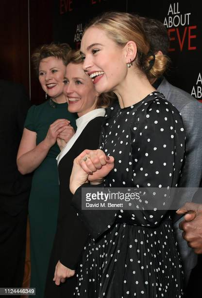 Monica Dolan Gillian Anderson and Lily James attend the press night after party for 'All About Eve' at The Waldorf Hilton on February 12 2019 in...