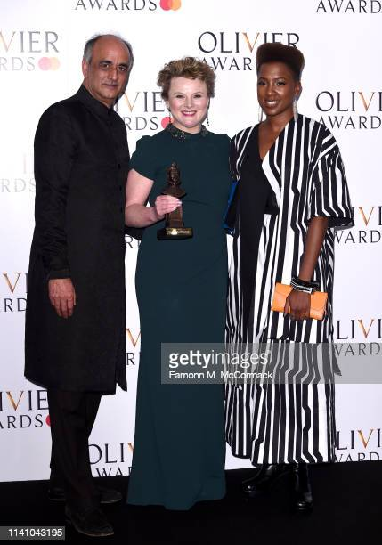 "Monica Dolan with the award for Best Actress in a Supporting Role for ""All About Eve"" with presenter Art Malik and Jade Anouka during The Olivier..."