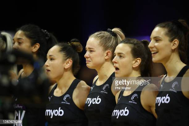 Monica Falkner of New Zealand looks emotional during the anthems before game 1 of the Cadbury Netball Series between the New Zealand Silver Ferns and...