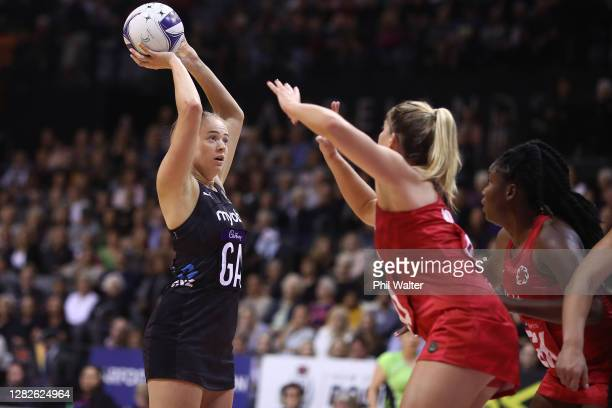Monica Falkner of New Zealand shoots during game 1 of the Cadbury Netball Series between the New Zealand Silver Ferns and the England Roses at...