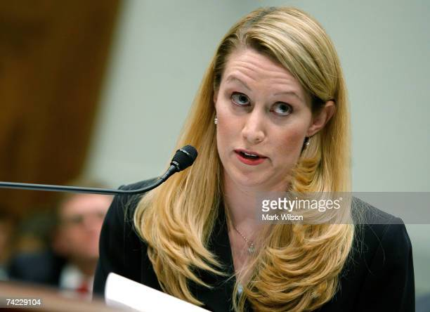 Monica Goodling former Justice Department White House Liaison testifies during a House Judiciary Committee hearing on Capitol Hill May 23 2007 in...