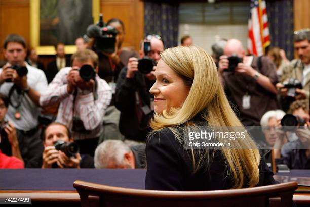 Monica Goodling former Justice Department White House liaison prepares to testify to the House Judiciary Committee on Capitol Hill May 23 2007 in...