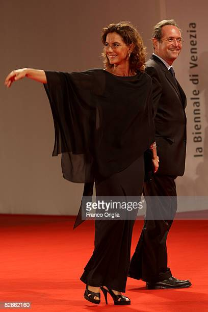 Monica Guerritore and Roberto Zaccaria attend the Yuppi Du premiere at the Sala Grande during the 65th Venice Film Festival on September 4 2008 in...