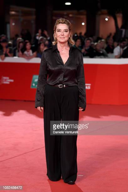 """Monica Guerritore walks the red carpet ahead of the """"Bad Times At The El Royale """" screening during the 13th Rome Film Fest at Auditorium Parco Della..."""