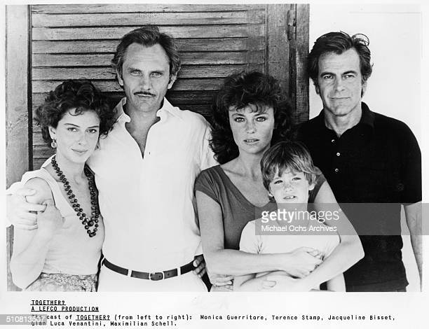 Monica GuerritoreTerence Stamp Jacqueline Bisset Luca Venantini and Maximilian Schell pose for the movie 'Together' circa 1979