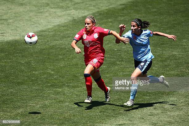 Monica Hickmann Alves of Adelaide United competes with Leena Khamis of Sydney during the round 14 WLeague match between Adelaide United and Sydney FC...