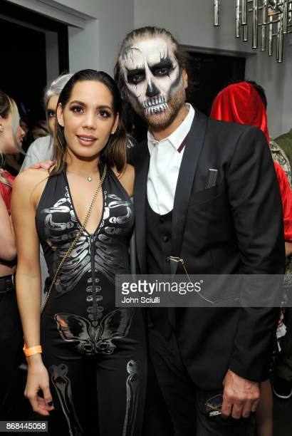 Monica Hidalgo Majai and Alejandro Fernandez attend Diego Boneta's David Bernon's Halloween at the Hedges by Chivas Regal on October 30 2017 in West...