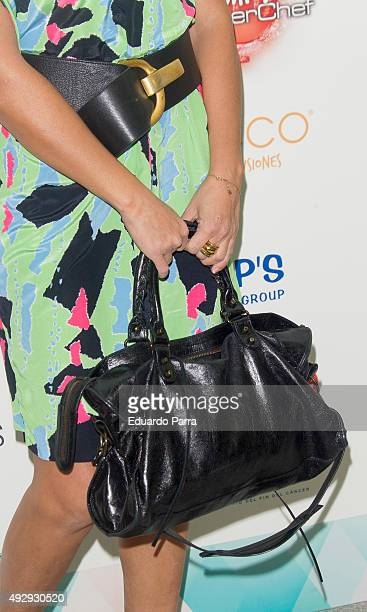 Monica Hoyos bag detail attends The Petite Fashion Week photocall at Madrid City Hall on October 16 2015 in Madrid Spain