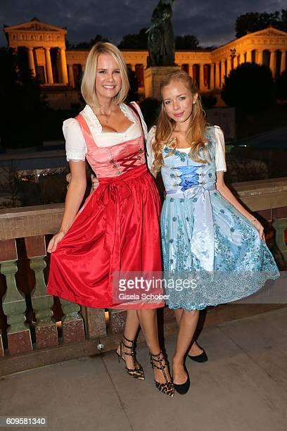 Monica Ivancan and Charly Sturm during the Oktoberfest at Kaeferschaenke beer tent at Theresienwiese on September 21 2016 in Munich Germany