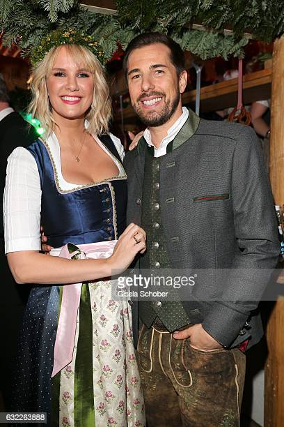 Monica Ivancan and her husband Christian Meier during the Weisswurstparty at Hotel Stanglwirt on January 20 2017 in Going near Kitzbuehel Austria