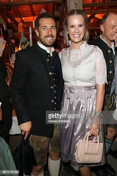 Monica Ivancan and her husband Christian Meier during the opening of the oktoberfest 2016 at the 'Kaeferschaenke' beer tent at Theresienwiese on...