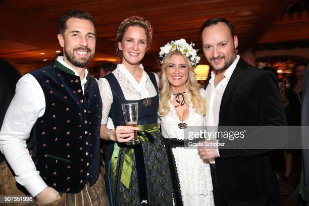 Monica Ivancan and her husband Christian Meier Jennifer Knaeble and her husband Felix Moese during the 27th Weisswurstparty at Hotel Stanglwirt on...
