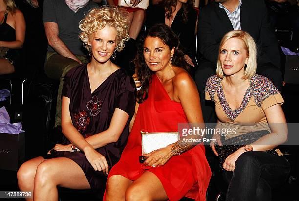 Monica Ivancan Anna von Griesheim and Tamara von Nayhauss sit in the front row of the Unrath Strano show at the MercedesBenz Fashion Week...