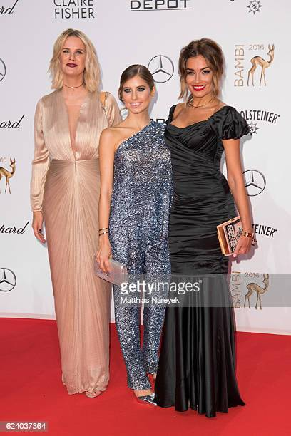 Monica Ivancan Cathy Hummels and Jana Ina Zarella arrive at the Bambi Awards 2016 at Stage Theater on November 17 2016 in Berlin Germany
