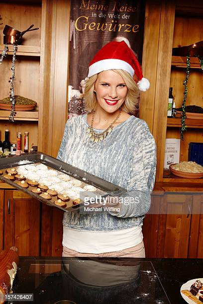 Monica Ivancan prepares Christmas cookies the famous German Weihnachtsplaetzchen at Schuhbeck's Kochschule on November 21 2012 in Munich Germany
