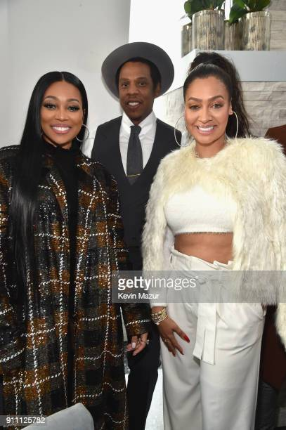 Monica JayZ and La La Anthony attend Roc Nation THE BRUNCH at One World Observatory on January 27 2018 in New York City