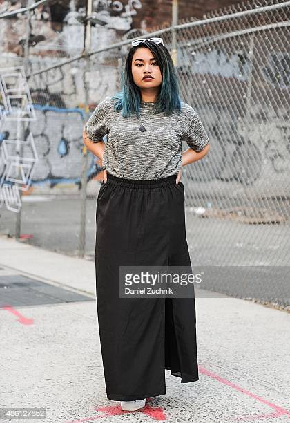 Monica Krystel Rose is seen in Soho wearing a Let Us Prosper top Michael Kors skirt Adidas sneakers Choies sunglasses and an Md13 necklace on August...