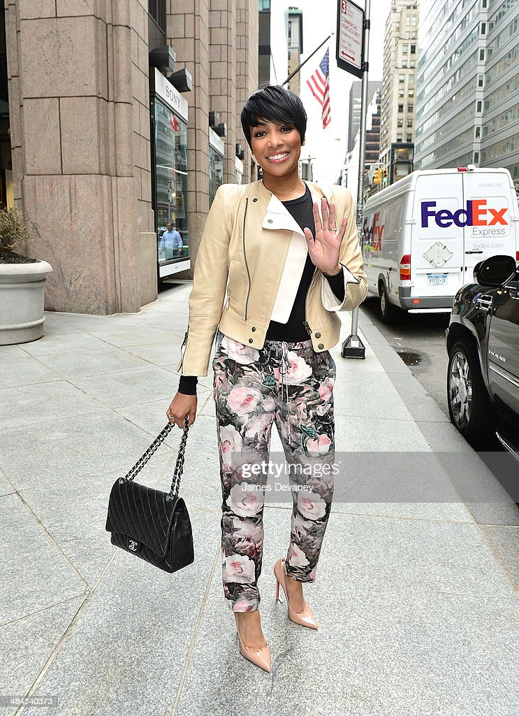 Monica leaves the Sony Tower on April 11, 2014 in New York City.