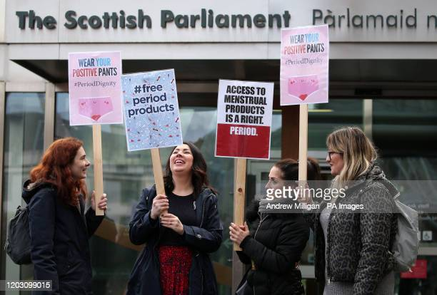 Monica Lennon MSP joins supporters of the Period Products bill at a rally outside Parliament in Edinburgh as legislation for Scotland to become the...