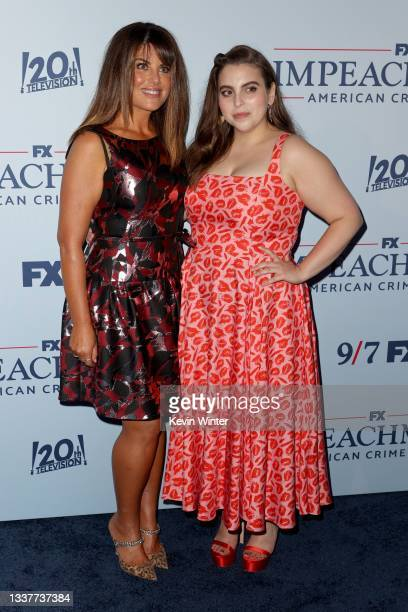 """Monica Lewinsky and Beanie Feldstein attend the premiere of FX's """"Impeachment: American Crime Story"""" at Pacific Design Center on September 01, 2021..."""