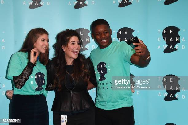 Monica Lewinsky and Campaign Ambassadors Felicity Potter and James Okulaja during an antibullying campagin photocall at Alexandra Palace on November...