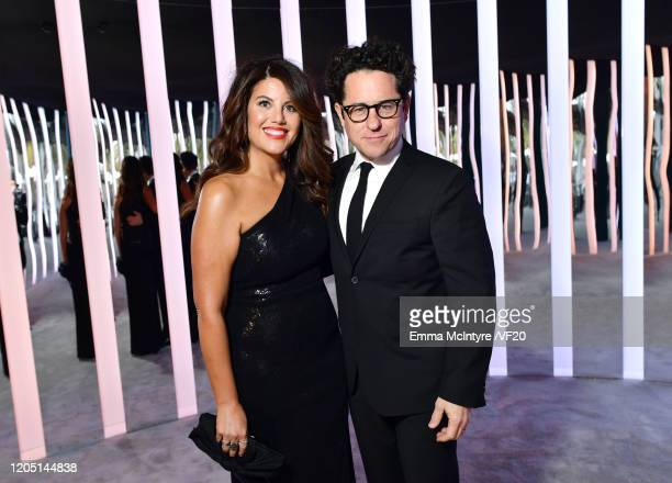 Monica Lewinsky and JJ Abrams attend the 2020 Vanity Fair Oscar Party hosted by Radhika Jones at Wallis Annenberg Center for the Performing Arts on...