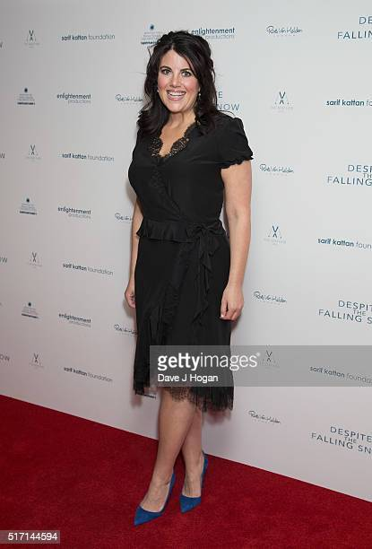 Monica Lewinsky attends a drink reception during a charity premiere of 'Despite The Falling Snow' at May Fair Hotel on March 23 2016 in London England