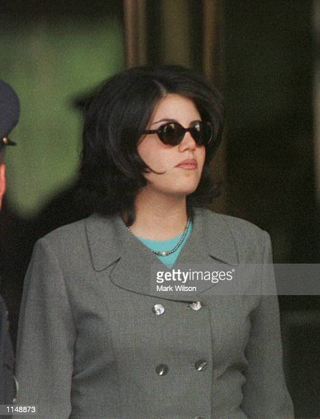 Monica Lewinsky departs from yhe US District Court in Washington DC on August 201998 Lewinsky was making her second appearance before the Starr Grand...