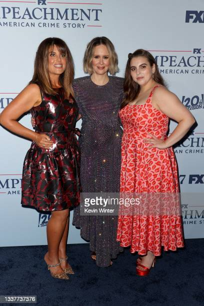 """Monica Lewinsky, Sarah Paulson and Beanie Feldstein attend the premiere of FX's """"Impeachment: American Crime Story"""" at Pacific Design Center on..."""