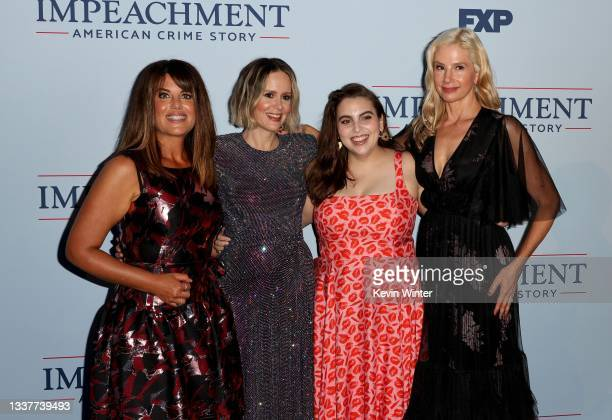 """Monica Lewinsky, Sarah Paulson, Beanie Feldstein and Mira Sorvino attend the premiere of FX's """"Impeachment: American Crime Story"""" at Pacific Design..."""