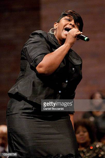 Monica Lisa Stevenson performs during the memorial service for Albertina Walker at the Apostolic Church of God on October 14, 2010 in Chicago,...