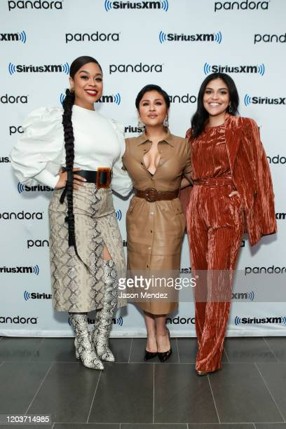 Monica Macer, Annie Gonzalez and Karrie Martin visit SiriusXM at SiriusXM Studios on February 27, 2020 in New York City.