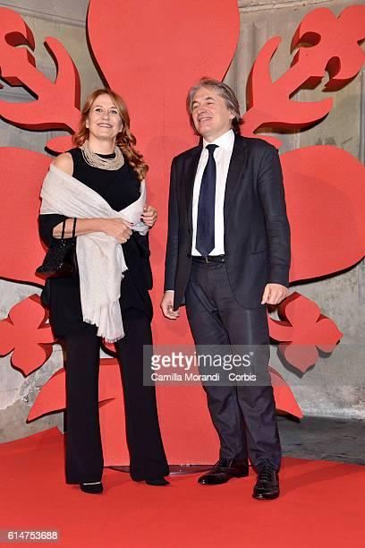 Monica Maggioni and Antonio Campo Dall'Orto walk a red carpet for 'I Medici' on October 14 2016 in Florence Italy