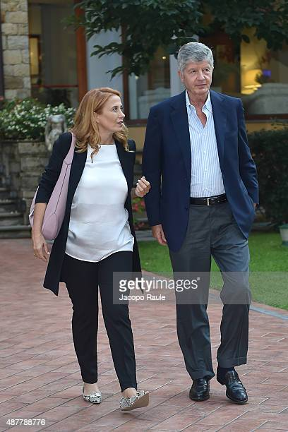 Monica Maggioni and Gabriele Galateri Di Genola attend the Festival Della Comunicazione on September 11 2015 in Camogli Italy