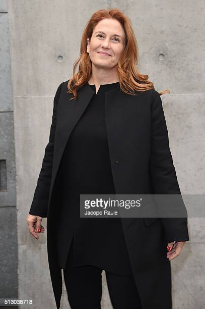 Monica Maggioni attends the Giorgio Armani show during Milan Fashion Week Fall/Winter 2016/17 on February 29 2016 in Milan Italy