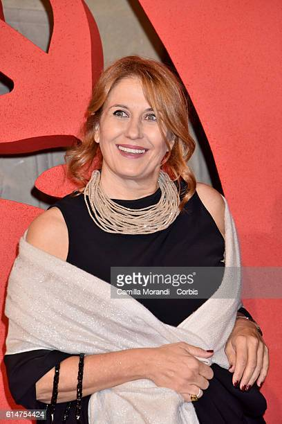 Monica Maggioni walks a red carpet for 'I Medici' on October 14 2016 in Florence Italy