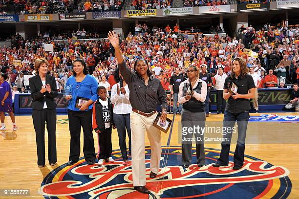 Monica Maxwell a Legend of the Indiana Fever is acknowledged prior to Game Four of the WNBA Finals on October 7 2009 at Conseco Fieldhouse in...