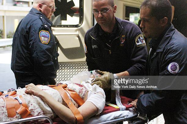 Monica Meadows a 23yearold model and actress who was wounded in the shoulder in a mysterious subway shooting while riding an uptown W train is rushed...