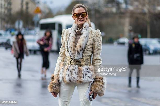 Monica Mendez outside Elie Saab during the Paris Fashion Week Haute Couture Spring/Summer 2016 on January 27 2016 in Paris France