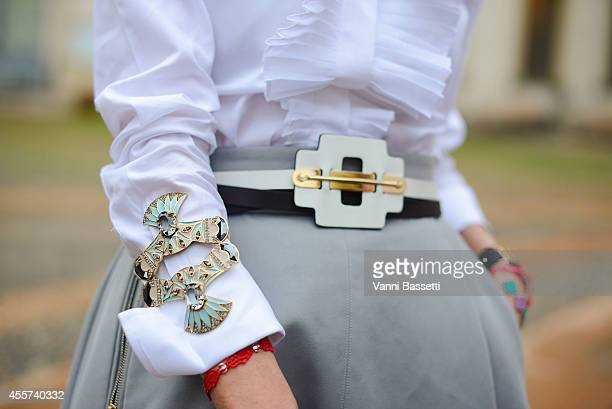 Monica Mendez poses wearing a Tod's total look and Camilla Klein bracelet on September 19 2014 in Milan Italy