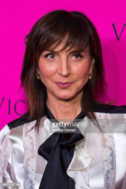 Monica Mitro attends the 2017 Victoria's Secret Fashion Show viewing party pink carpet at Spring Studios on November 28 2017 in New York City