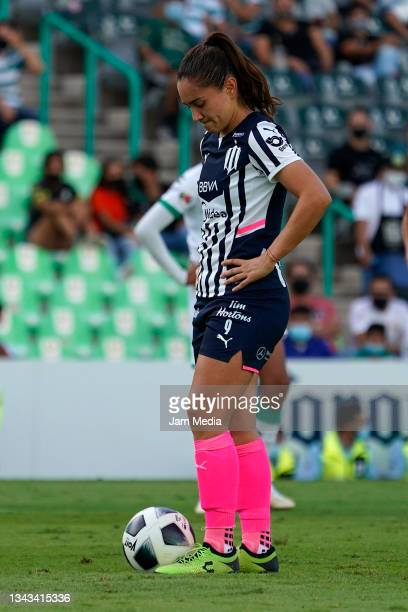Monica Monsivais of Monterrey prepares to kick the ball during a match between Santos and Monterrey as part of the Torneo Grita Mexico A21 Liga MX...