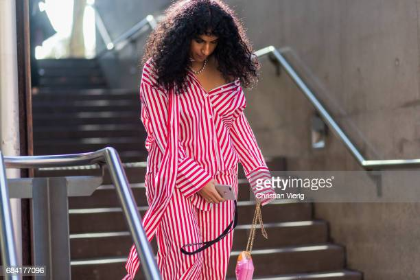 Monica Morlaes wearing a L'oeil top and pants Chanel bag at day 4 during MercedesBenz Fashion Week Resort 18 Collections at Carriageworks on May 17...