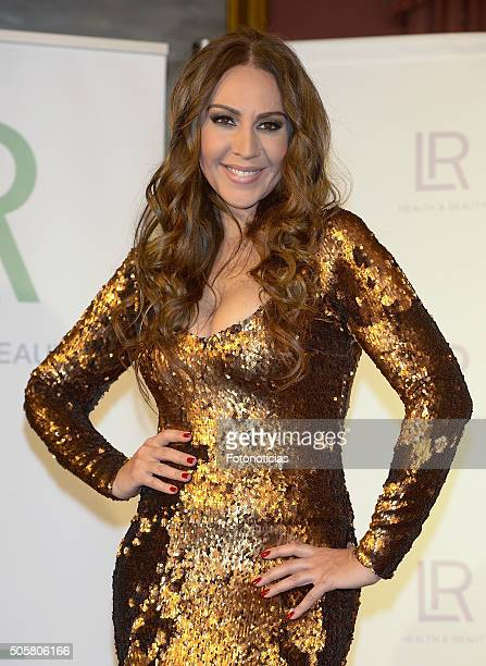 Monica Naranjo presents the new LR Health Beauty products at the Teatro Real on January 20 2016 in Madrid Spain