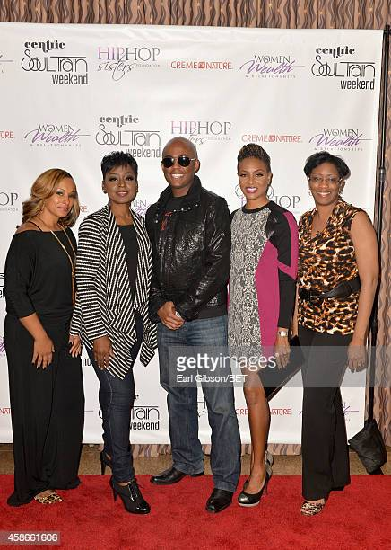 Monica Newman McCluney host Lynn Richardson Farrah Gray host MC Lyte and guest attend the 2014 Soul Train Music Awards Hip Hop Sisters Panel on...