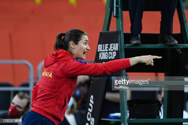 Monica Niculescu, captain of team Romania, encouraging his team-mates during the match against Italy in the Billie Jean King cup in Cluj-Napoca, 17...