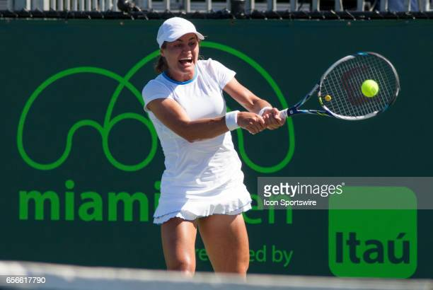 Monica Niculescu in action during the second day of the qualifying round of the 2017 Miami Open on March 21 at Tennis Center at Crandon Park in Key...