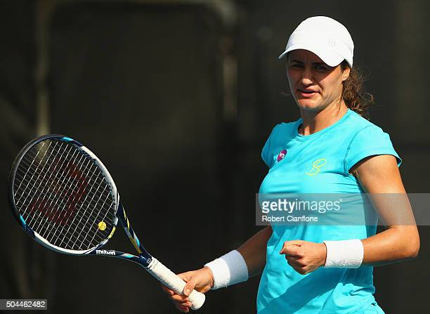 Monica Niculescu of Romania celebrates a point in the women's single's match against Christina McHale of the United States during day two of the 2016...