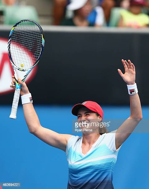 Monica Niculescu of Romania celebrates winning her second round match against Sabine Lisicki of Germany during day three of the 2014 Australian Open...
